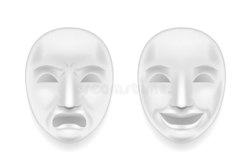 Isolated theatrical face mask sadness joy white actor play antique realistic 3d mock up design vector illustration. Isolated theatrical face mask sadness joy vector illustration