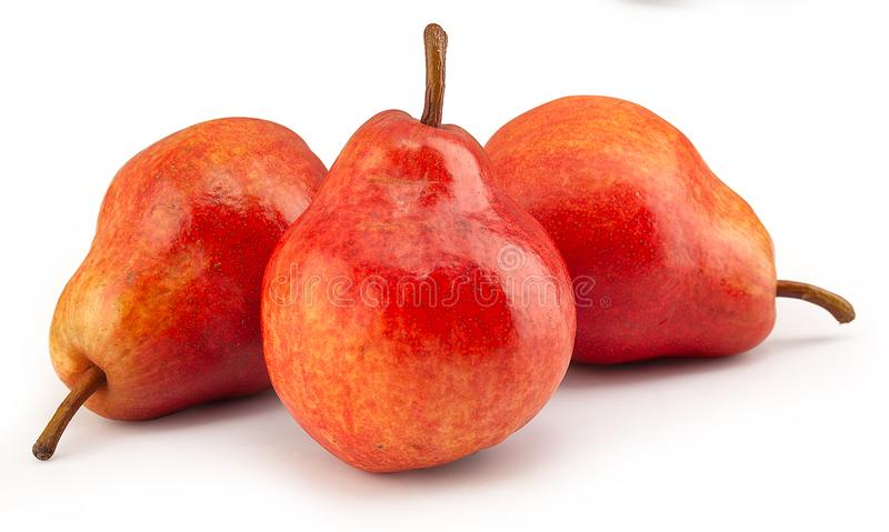 Three red pears royalty free stock photos