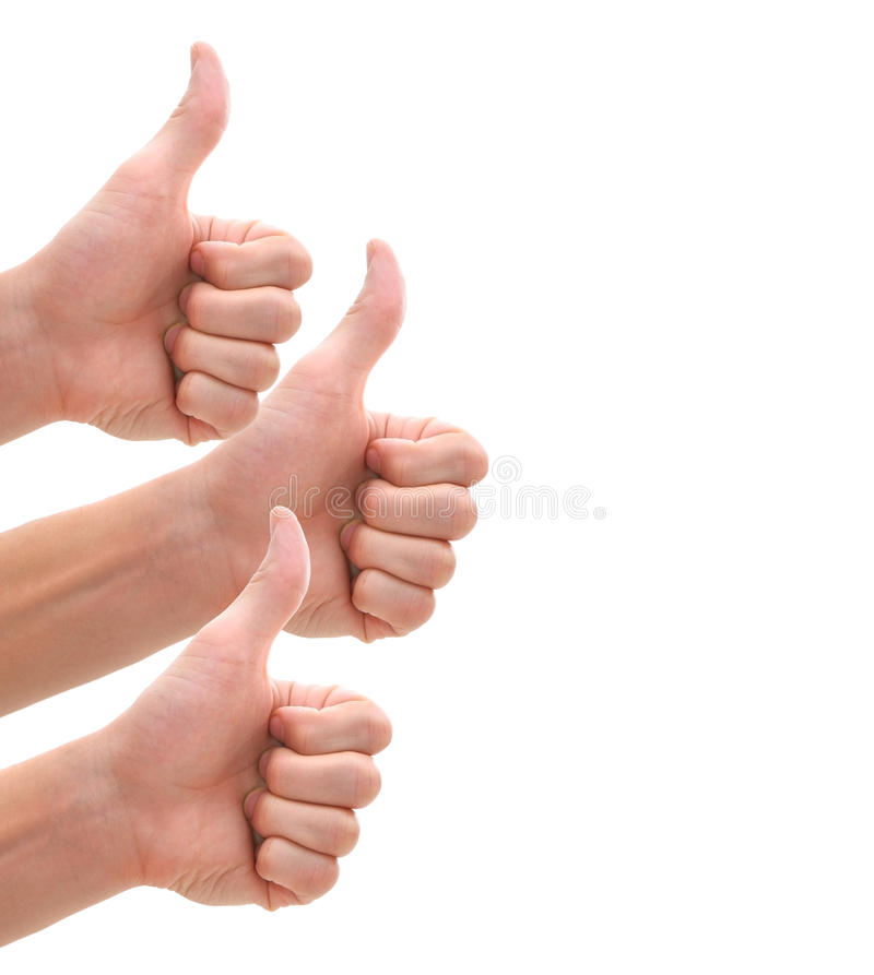 Isolated thumbs up stock photos