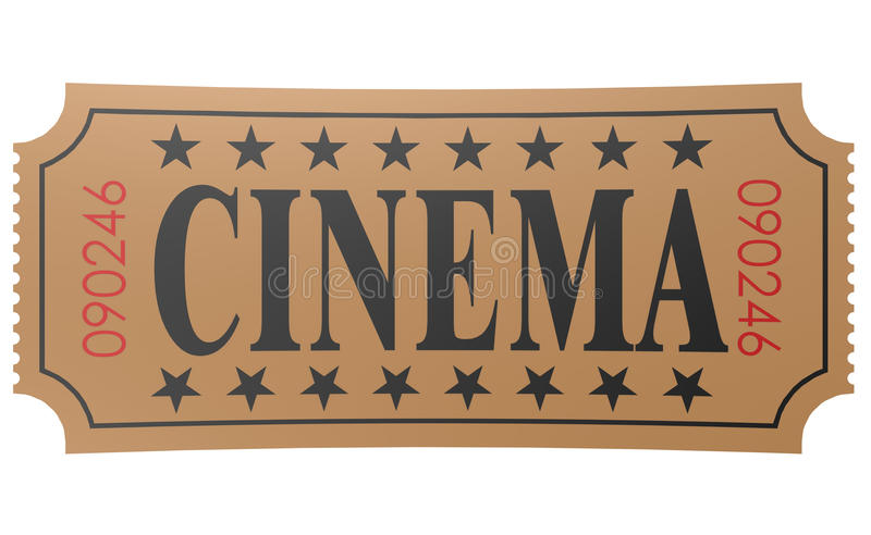 Isolated ticket with cinema word royalty free illustration