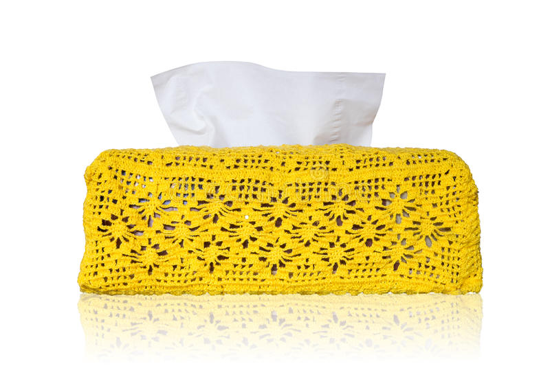 Isolated tissue box and crochet cover stock photo