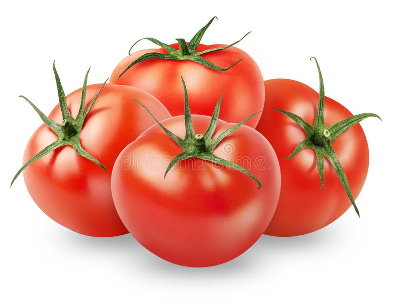 Isolated tomato. Pile of whole fresh tomatoes isolated on white background royalty free stock images