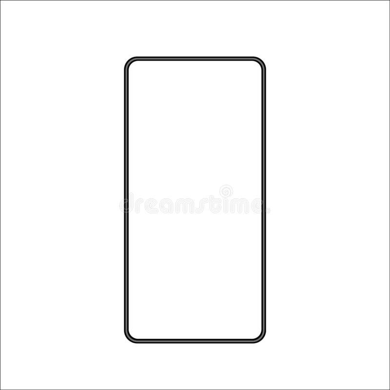 Isolated touchscreen black bezel less smartphone on white background Illustration. Vector image of latest design. EPS10 compatible vector illustration