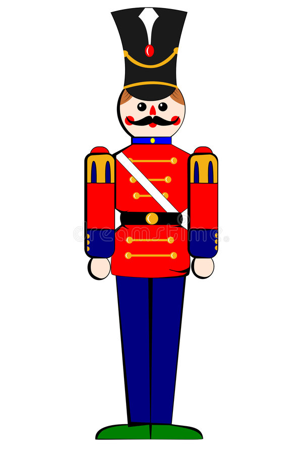 Isolated toy wooden soldier stock illustration