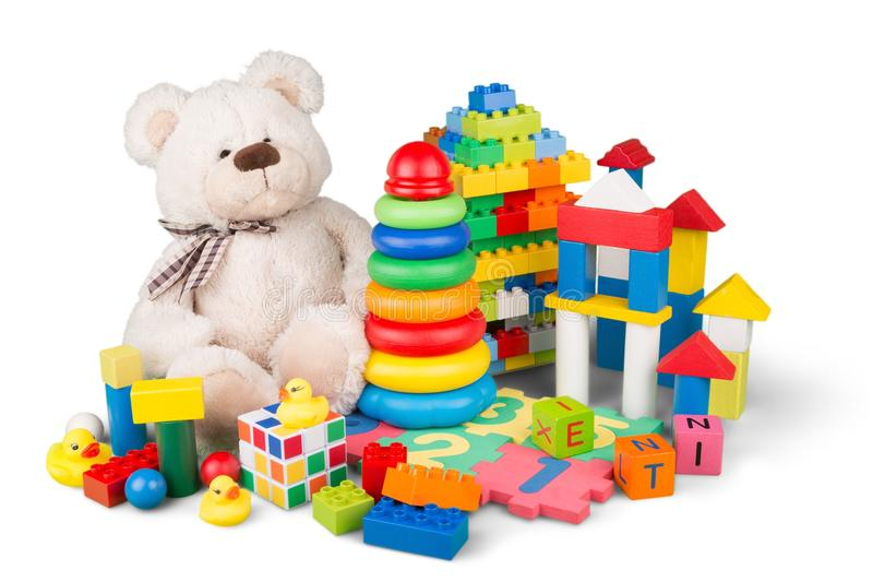 Toys collection isolated on white background stock image