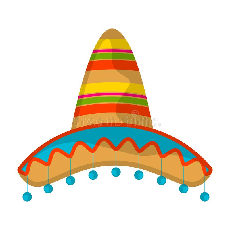 Isolated traditional colored mexican hat. Image - Vector stock illustration