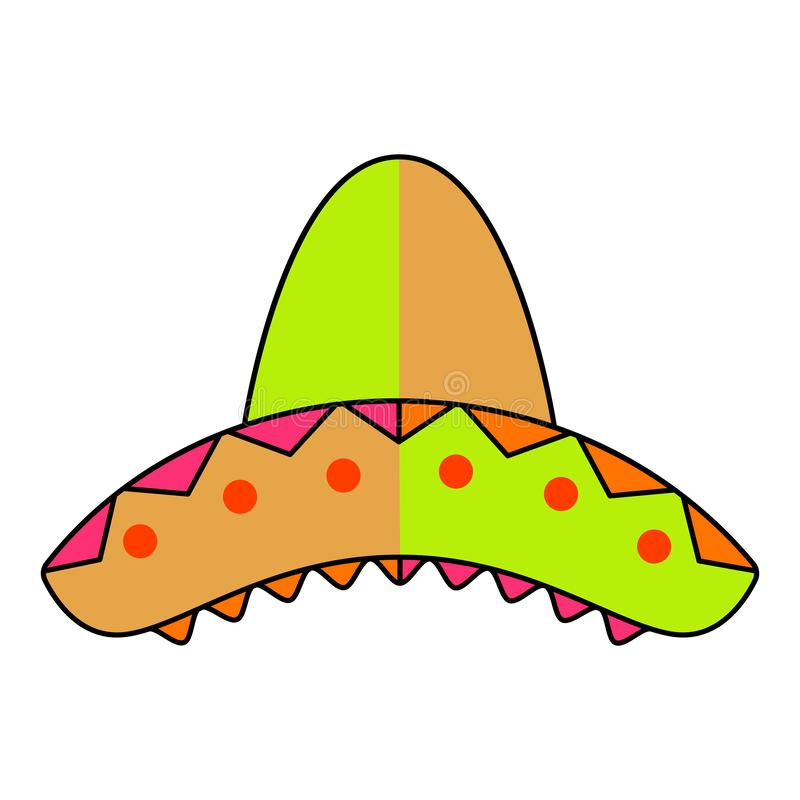 Isolated traditional colored mexican hat. Image - Vector royalty free illustration