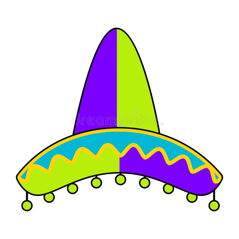 Isolated traditional colored mexican hat. Image - Vector vector illustration