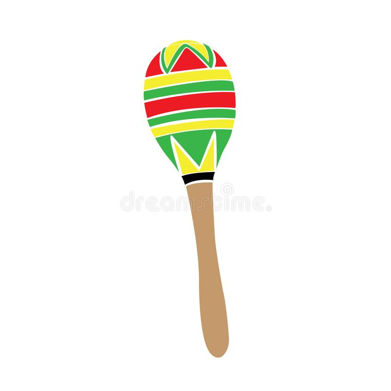 Isolated traditional colored mexican maraca image royalty free illustration