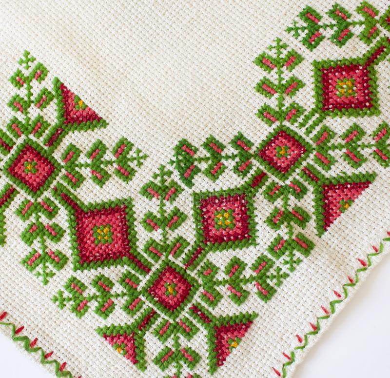 Isolated traditional Ukrainian embroidery. Embroidered napkins isolated on white background. Folk crafts, traditional Ukrainian embroidery stock photo