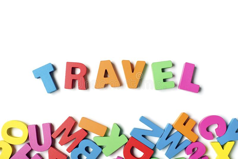 Isolated ` TRAVEL ` Colorful Wooden Letters and Word, Learning English Word stock image