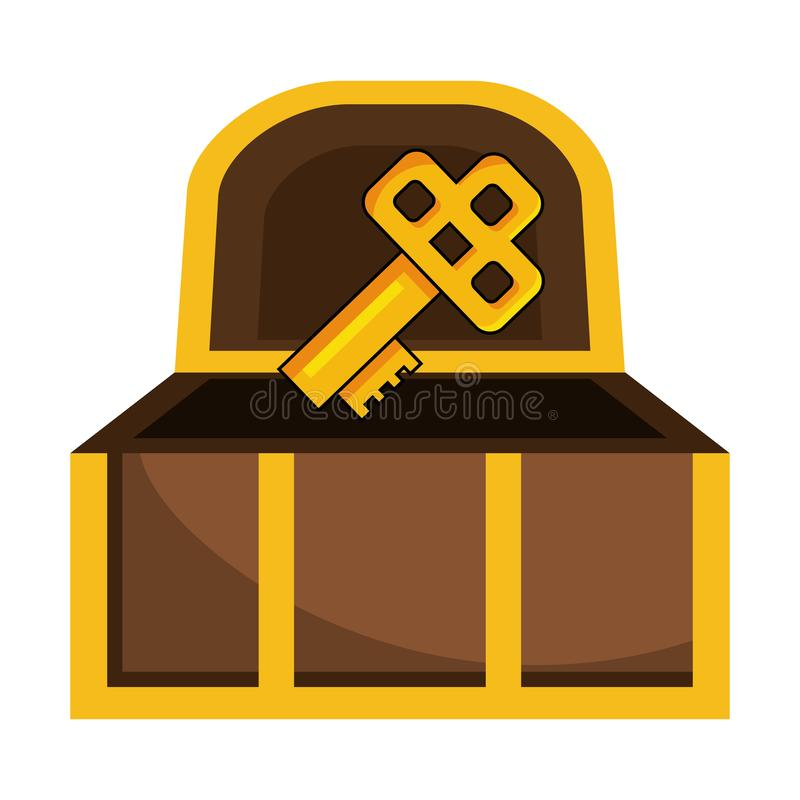 Isolated treasure chest design vector illustration. Treasure chest design, Box vintage gold wealth pirate ancient antique and money theme Vector illustration royalty free illustration