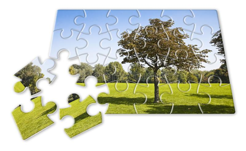 Isolated tree in a green meadow - environmental conservation concept image in jigsaw puzzle shape royalty free stock photo
