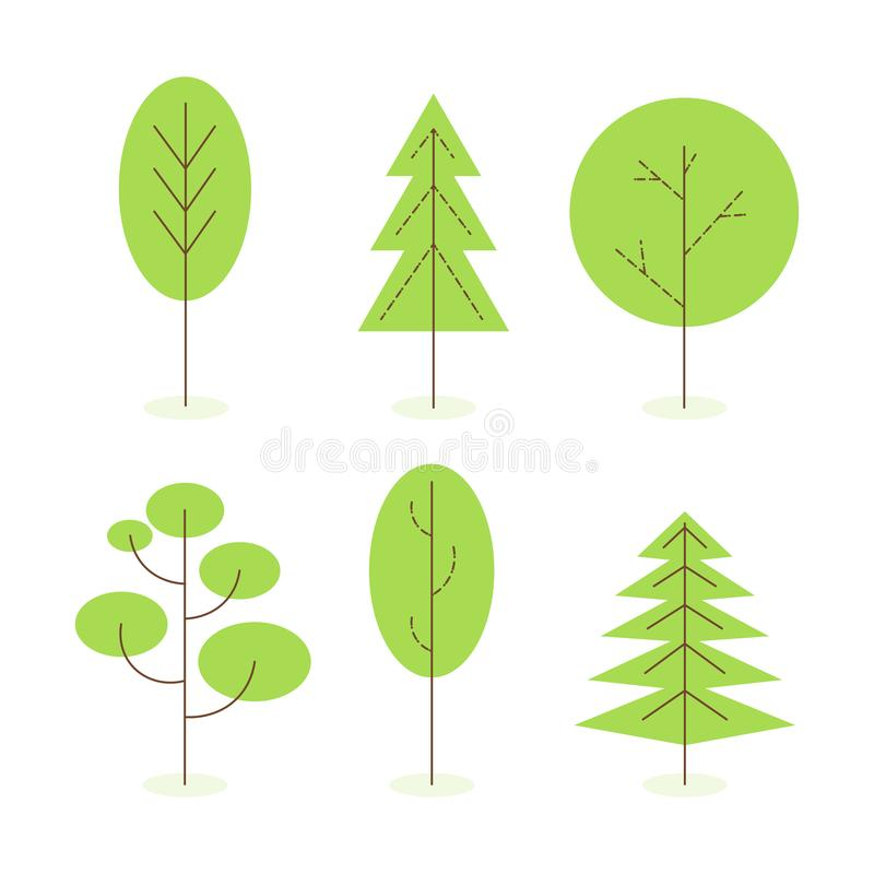Set of isolated simple tree in flat style vector illustration