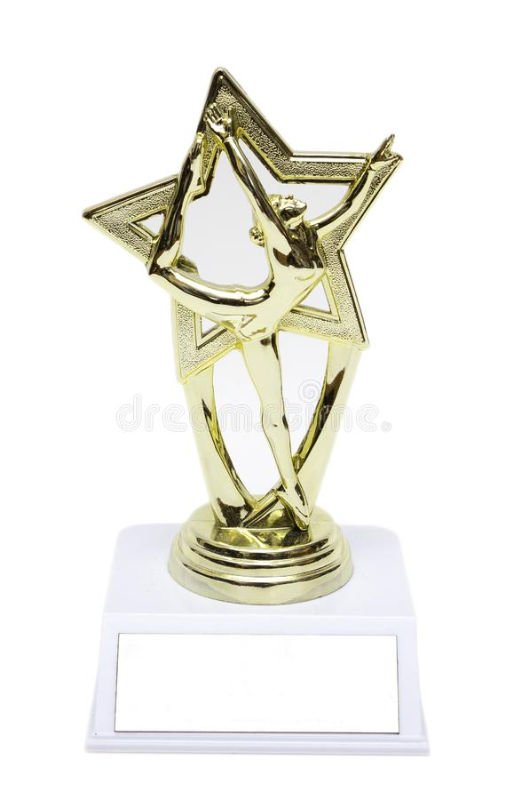 Isolated Trophy. A trophy with a dancing lady isolated in white background royalty free stock images