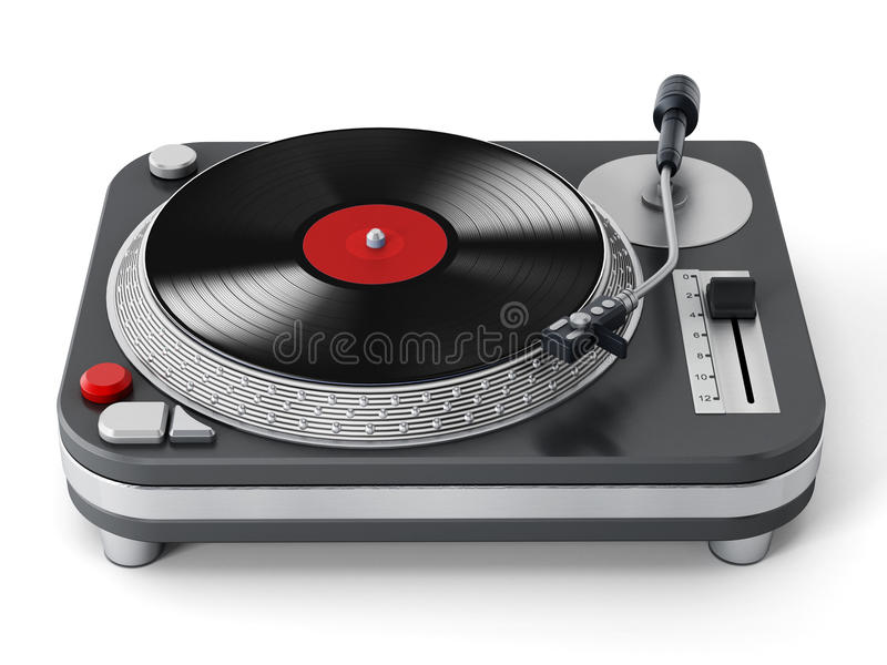 Isolated turntable. Vintage turntable isolated on white background vector illustration