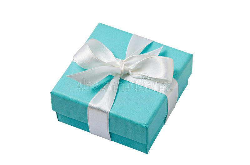 Isolated turquoise gift box on white background with path royalty free stock photos