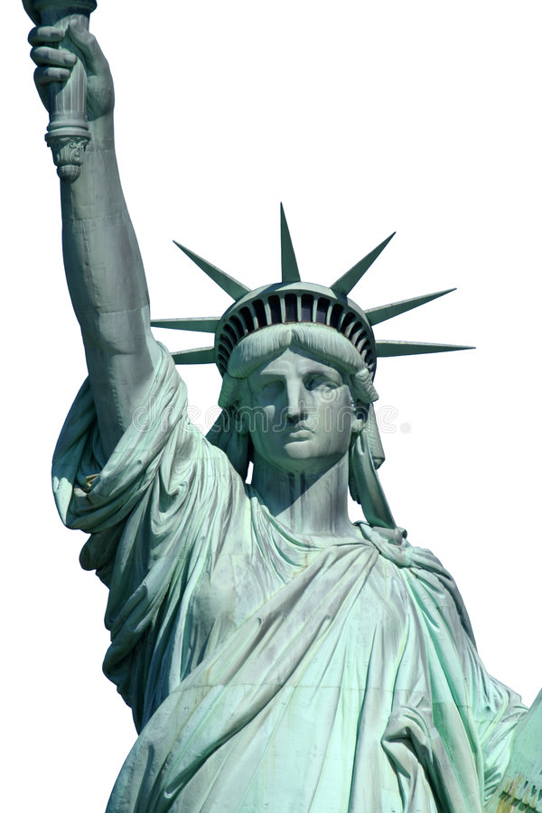 Isolated upper liberty statue stock photos