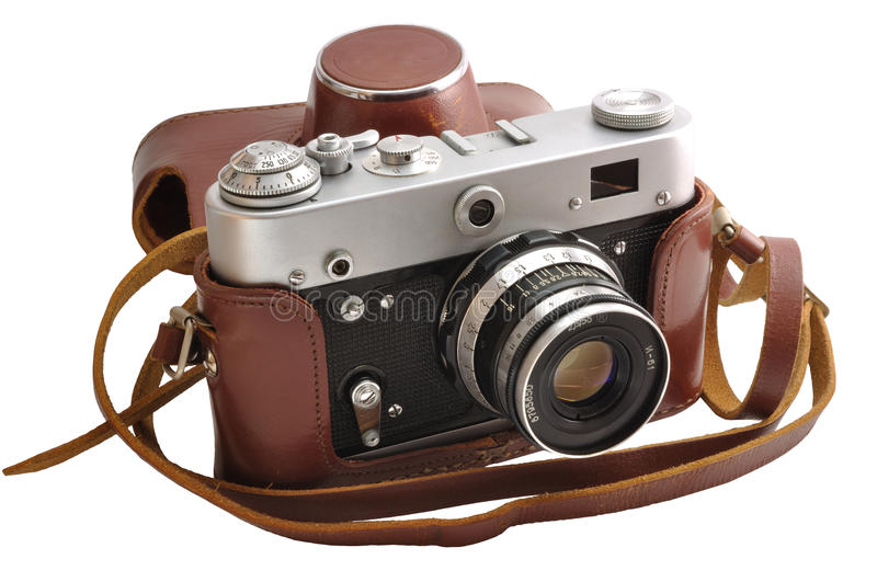 Download Isolated Used Film Photo-camera In Leather Case Stock Image - Image of body, foto: 15167137