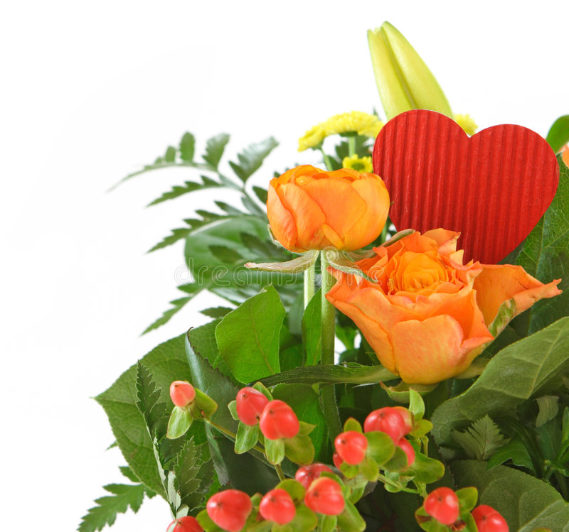Isolated Valentine Bouquet Royalty Free Stock Photography