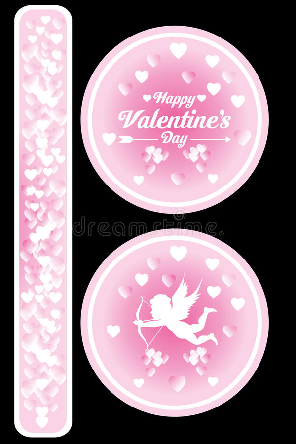 Isolated Valentines stickers. On black with glowing hearts - as jpg and eps file available vector illustration