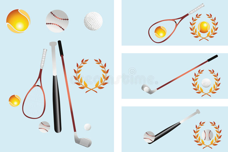 Isolated various items of Sport and banner. For Golf, Tennis and Baseball royalty free illustration