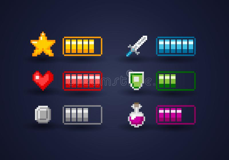 Isolated Vecor Pixel Art Video Game Interface Icon Set vector illustration
