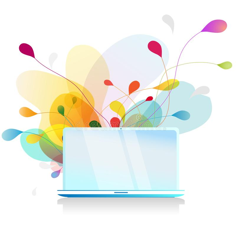 Isolated vector background wall paper of computer with abstract colorful bubbles vector illustration