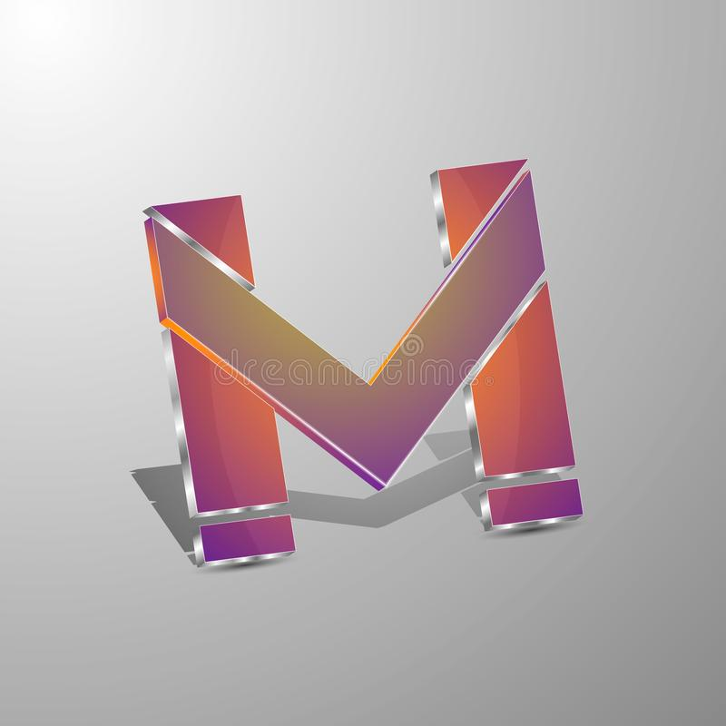 Isolated vector 3d logo letters m.Concept design stock illustration