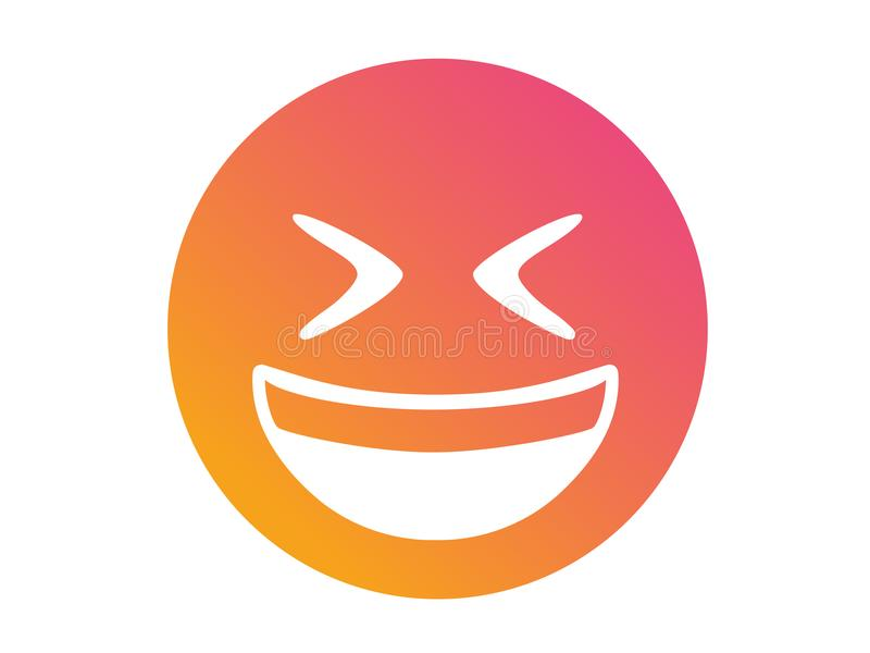 Isolated vector gradient laughing out loud face flat icon. The isolated vector gradient laughing out loud face flat icon royalty free illustration
