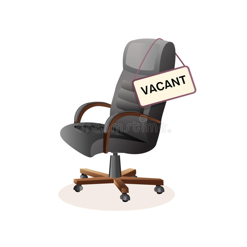 Isolated vector illustration ioffice chair. Composition with office chair and a sign vacant royalty free illustration