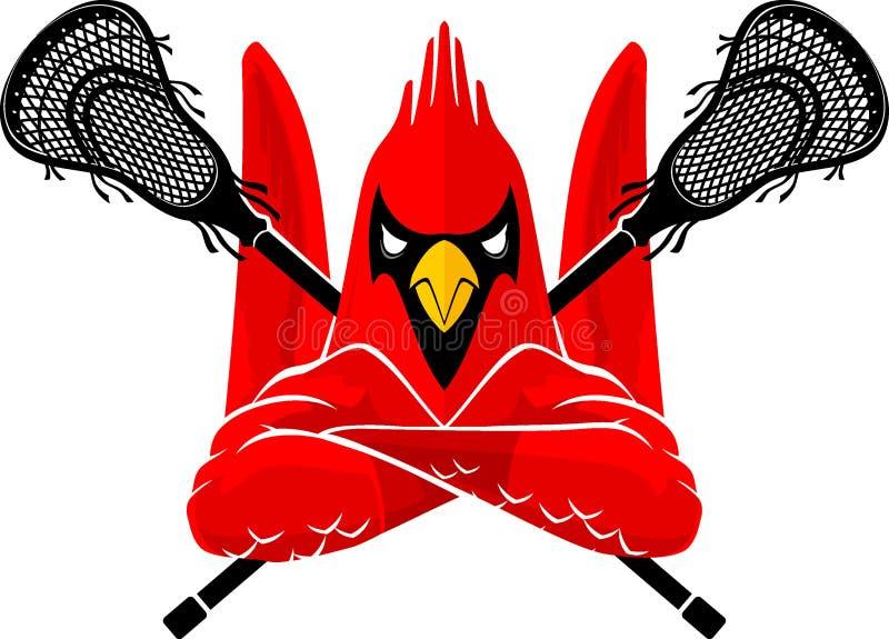 Lacrosse Sport Cardinal Bird Mascot royalty free illustration