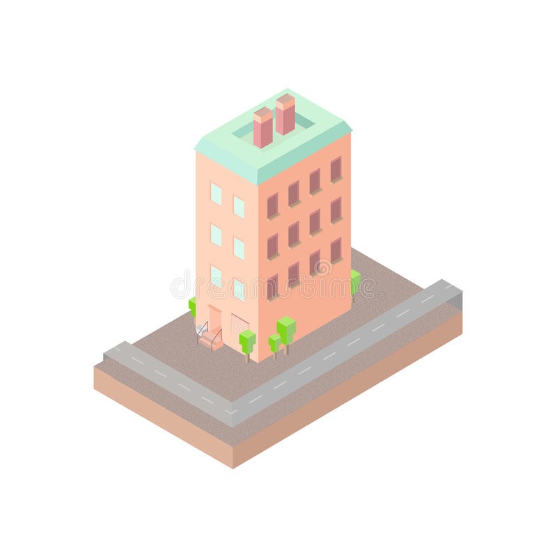 Isolated vector isomatic, small isometric house, isometric icon with backyard, isometric home, isometric town, isometric villa vector illustration