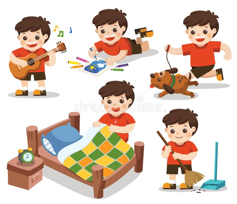 The daily routine of A cute boy on a white background. Isolated vector. The daily routine of A cute boy on a white background. [Make a bed, Do homework vector illustration