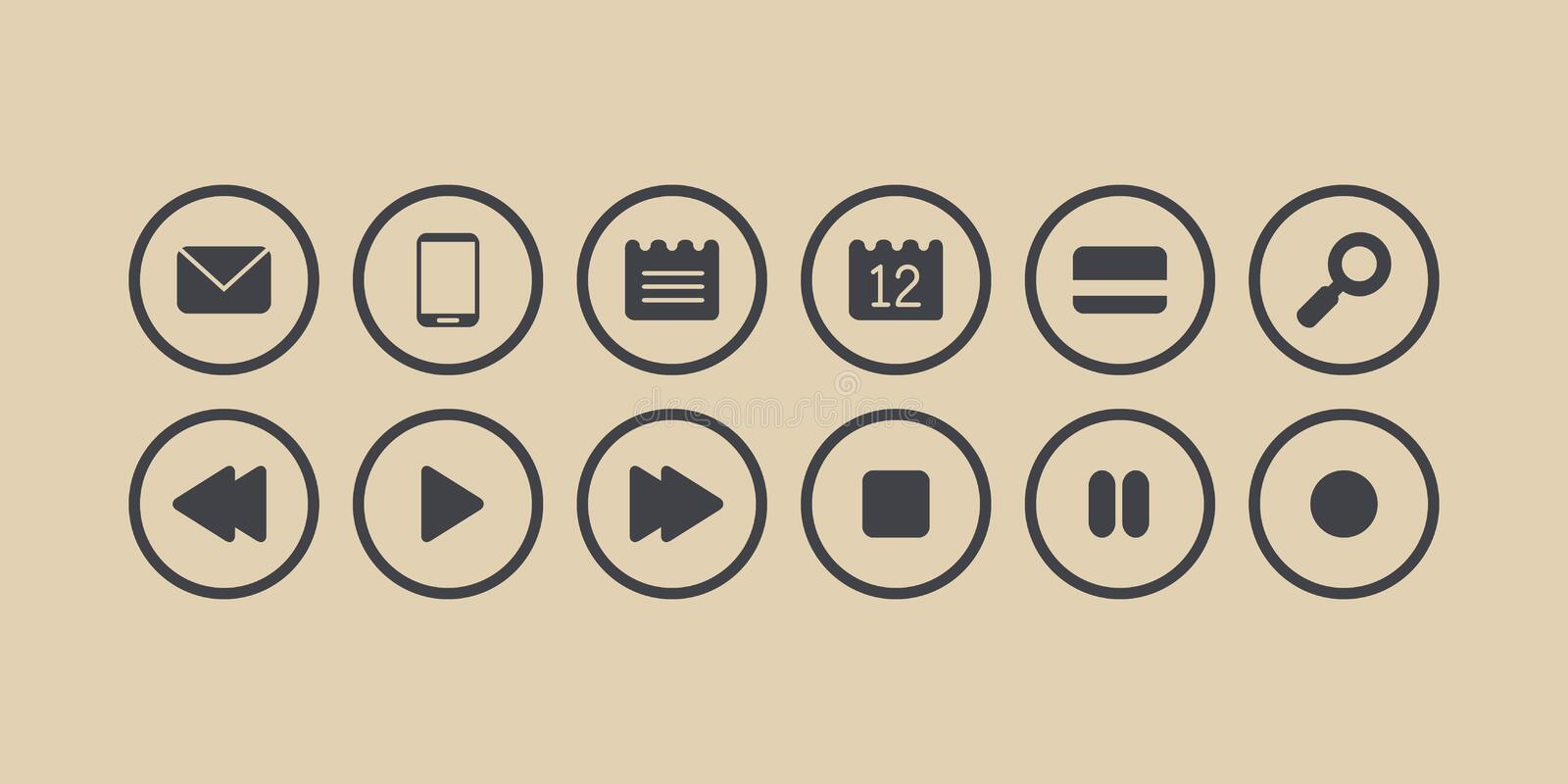 Buttons isolated vector set. Sms, phone, note, calendar, credit card, lens, play, stop, rewind, forward, pause, record grey icons vector illustration