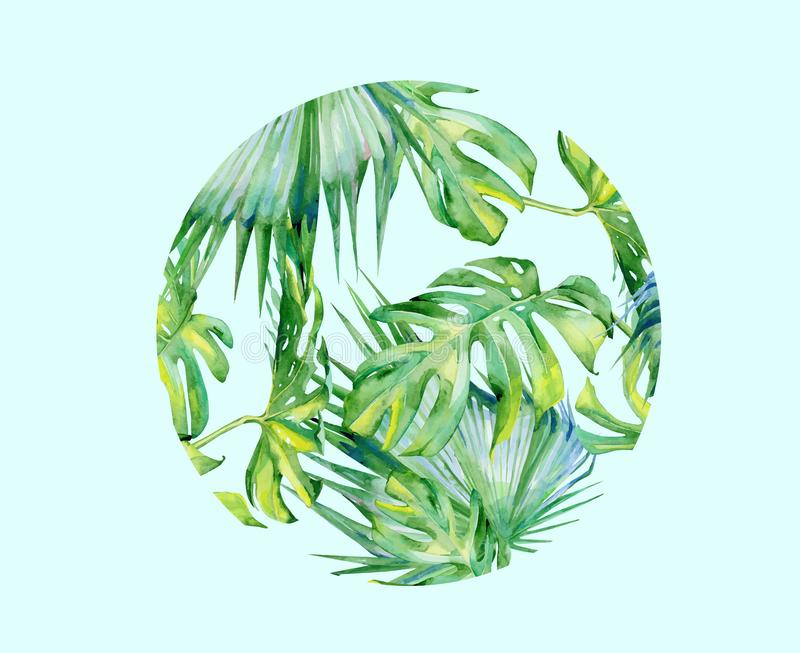 Isolated vector watercolor green plant leaf deocration royalty free illustration