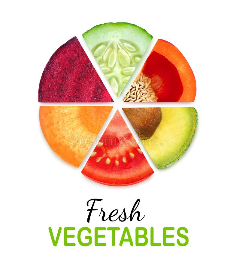 Isolated vegetable segments in a circle stock images