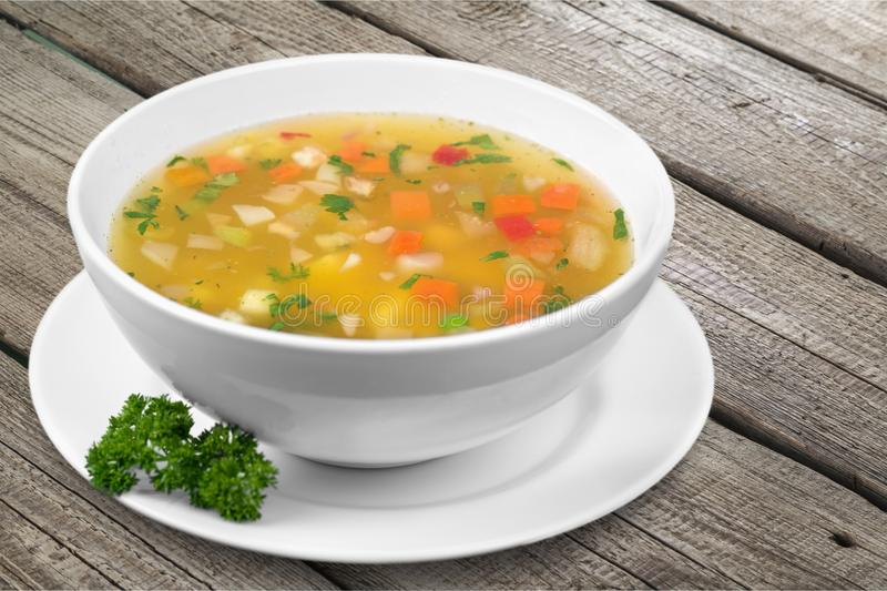 Vegetable soup on table royalty free stock images