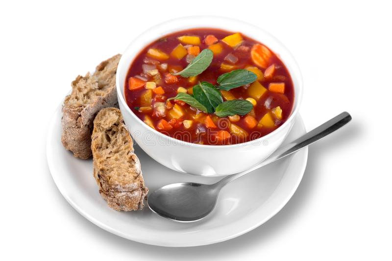 Vegetable soup isolated on background stock photo