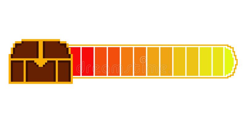 Isolated videogame bar. With a chest pixelated icon - Vector royalty free illustration