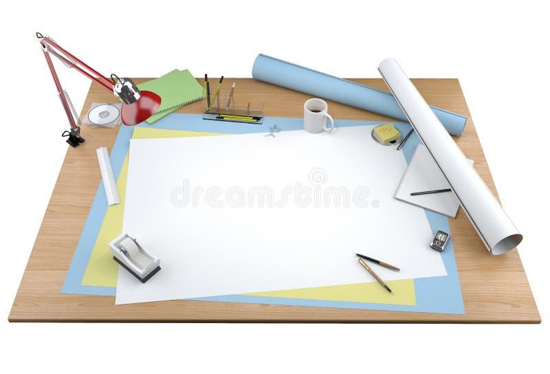 Isolated view of designer desktop stock illustration