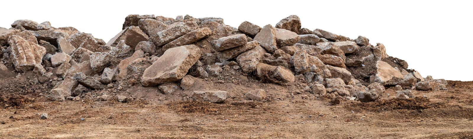 Isolated views of concrete debris piles on the ground royalty free stock images
