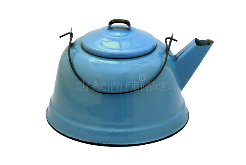 Isolated Vintage Blue Enamel Teakettle. Old blue granite teakettle with black wire handle royalty free stock photo