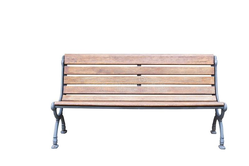 Isolated vintage metal and wooden bench on white stock photos
