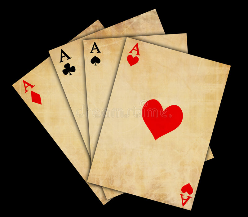 Isolated vintage playing cards stock photography