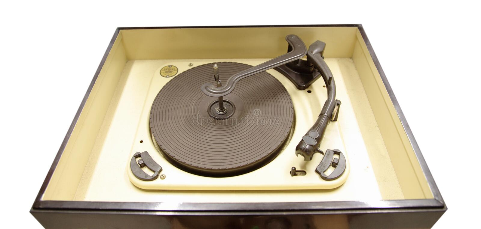 Isolated vintage vinyl player stock photography