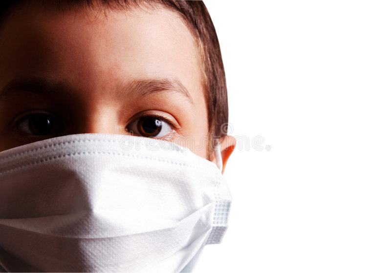 Isolated virus mask. Young boy with health mask for is protection again virus. White background royalty free stock photo