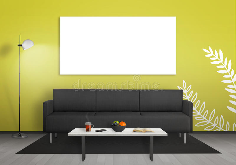 Isolated Wall Art Canvas Wall. Living Room Interior With Sofa, Lamp ...