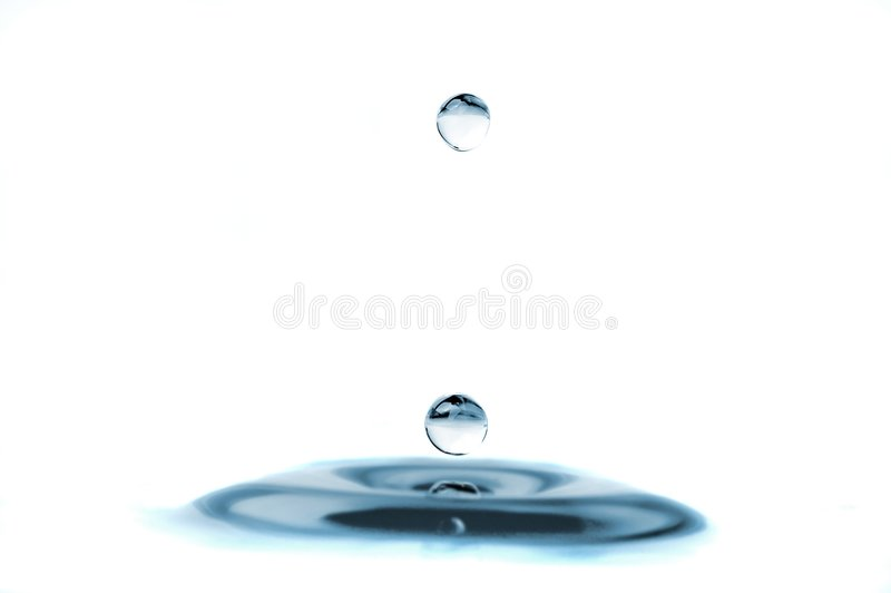 Isolated water droplets. One on top and one on the surface stock photo