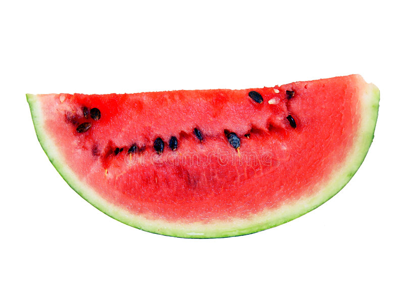 Isolated water-melon. Ripe, juicy, tasty, red isolated water-melon royalty free stock photography